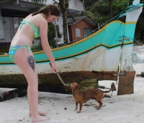 International Service Learning Playing at the Beach with Dog